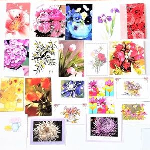 Floral Cards Blank Inside x 20 Assorted (G3)